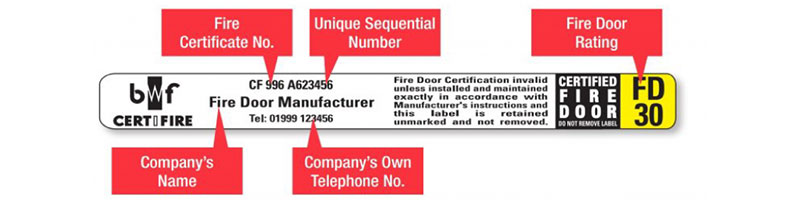 fire door certification label
