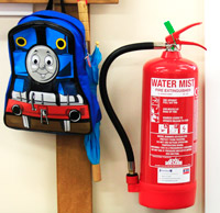 Dry Water Mist Extinguisher Installed In A School