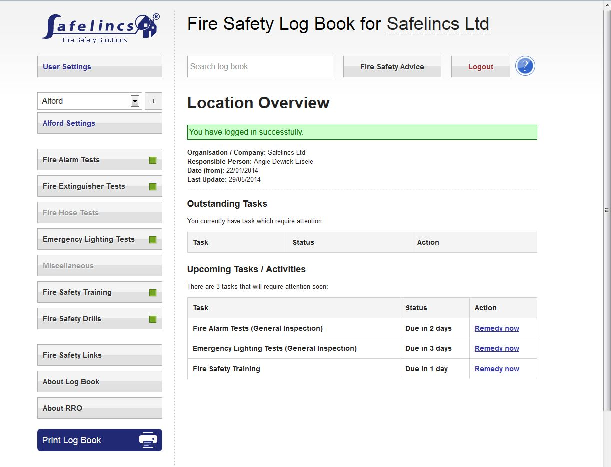 Free online fire safety logbook for organisations with for Fire alarm log book template