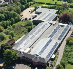 Installation of solar panels on Safelincs warehouse roofing