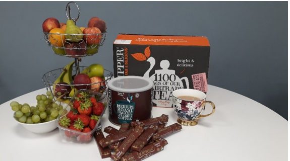 Fair trade coffee, tea and chocolate and locally sourced fruit for the office staff.