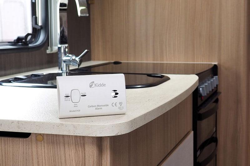 Caravan kitchen with co alarm