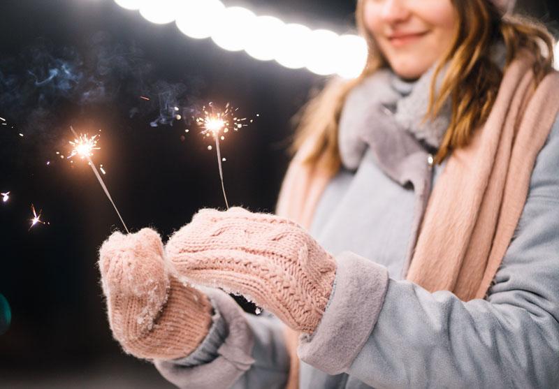 Wear gloves when holding sparklers