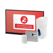 Alerts users to sanitise their hands before gaining entry to an area or building