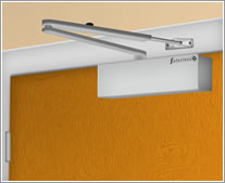 A graphic of an overhead door closer installed in Fig. 1 configuration
