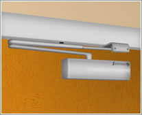 A graphic of an overhead door closer installed in Fig. 66 configuration