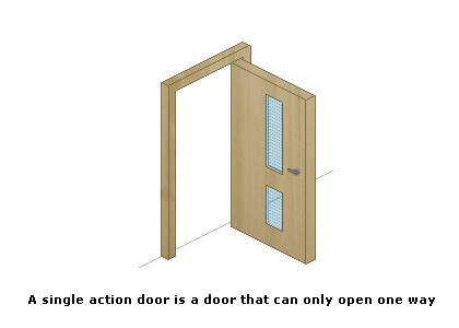 A single action door is a door that can only open one way