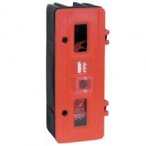 Single rotationally moulded fire extinguisher cabinet with key lock