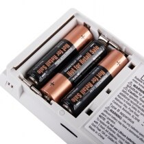 Powered by 3x AA size alkaline batteries lasting at least 1 year