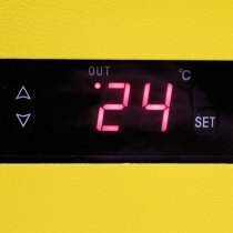 The cabinet is fitted with a thermally regulated heater