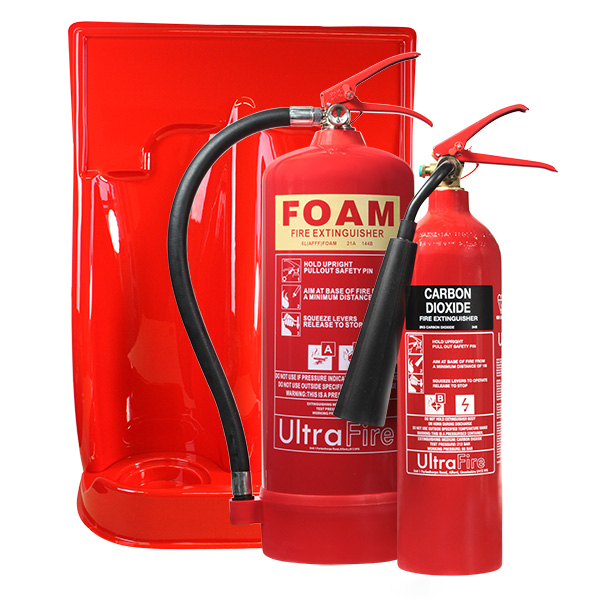 6ltr Foam, 2kg CO2 Extinguisher & Double Stand