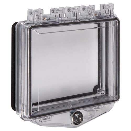 Flush mounted polycarbonate cover with exterior key lock