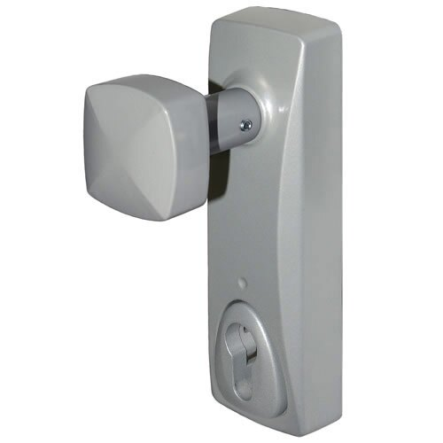Knob operated outside access device without Euro profile cylinder