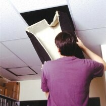 Luminaire covers maintain the fire integrity of ceilings