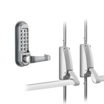 Briton Double Door Panic Bar Set with Code Lock Outside Access Device