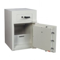 The Europa deposit safe is secured with high security key locks