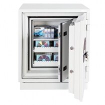 Phoenix Datacare 2003 Fire Data Safe internal view (features optional pull-out media trays)