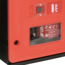 Double rotationally moulded fire extinguisher cabinet key lock feature