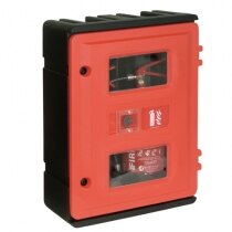 Double rotationally moulded fire extinguisher cabinet with key lock