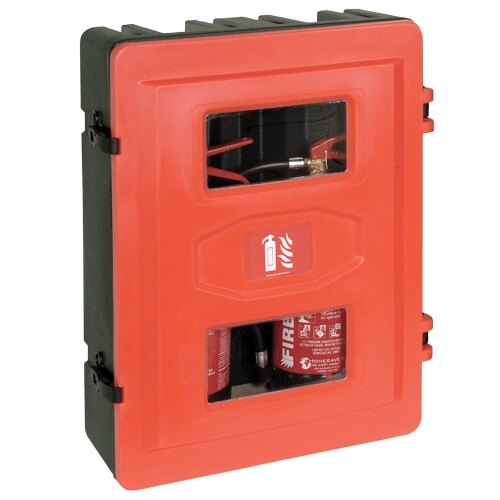 Double rotationally moulded fire extinguisher cabinet