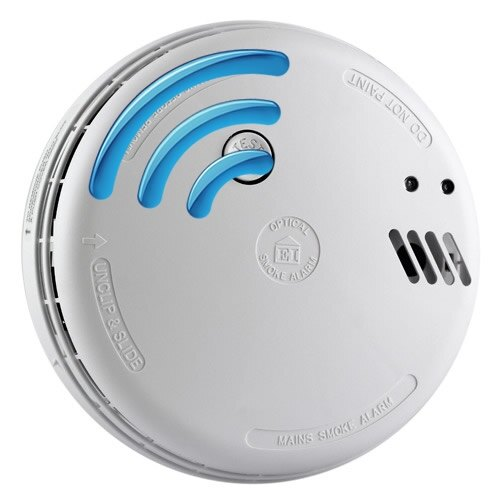 Mains 230V Optical Smoke Alarm with Alkaline Back-up Battery - Ei146RF