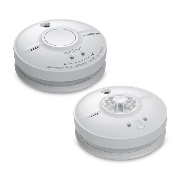 2 x FireAngel HW1-R Heat Alarms Mains Powered with 9v Battery Back-Up