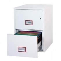 2 drawer filing cabinet with width adjustable rails