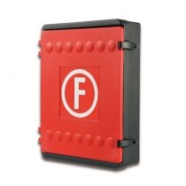 Fire hose reel cabinet with internal strapping to secure your equipment