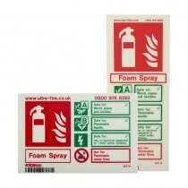 P50 Foam Extinguisher ID Signs available in Portrait and Landscape layouts