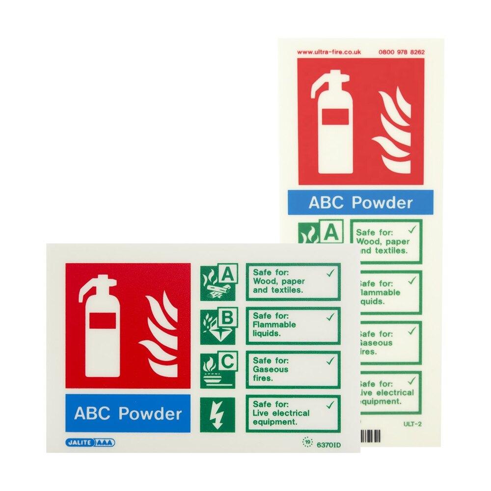 P50 Powder Extinguisher ID Signs - Portrait and Landscape