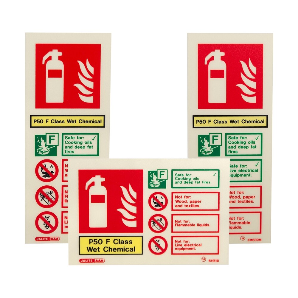 P50 Wet Chemical Extinguisher ID Signs - Portrait and Landscape