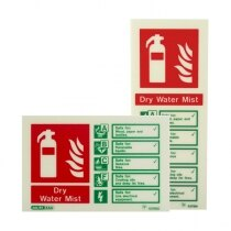 Photoluminescent Dry Water Mist Fire Extinguisher Sign