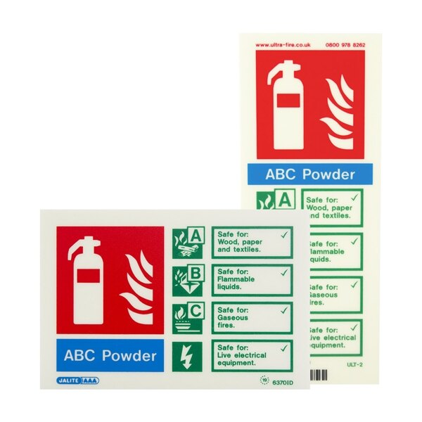 Photoluminescent Powder Fire Extinguisher Signs