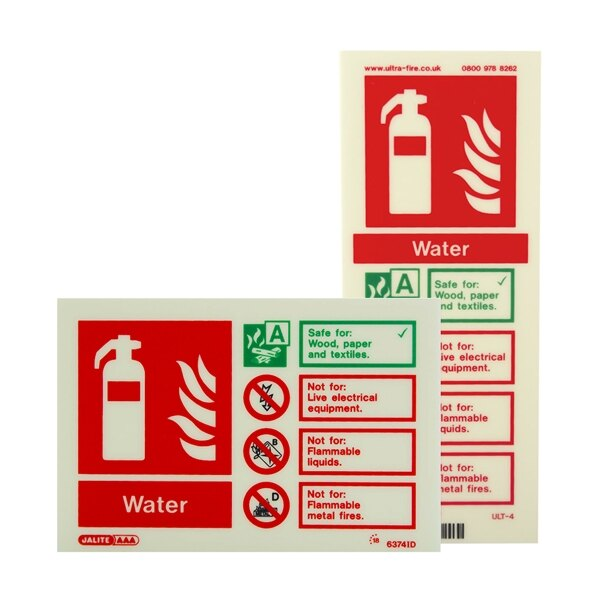 Photoluminescent Water Fire Extinguisher Signs