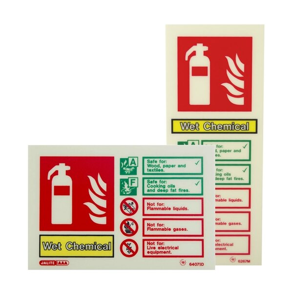 Photoluminescent Wet Chemical Fire Extinguisher Signs