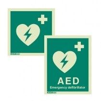 Emergency AED Defibrillator Location Sign