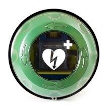 The Rotaid Plus defibrillator cabinet has a circular vision panel