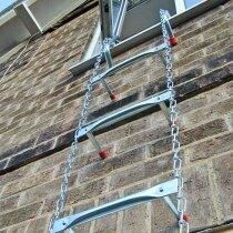 Deployed fire escape ladder
