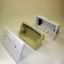 Fire and acoustic rated insert suitable for plastic socket boxes