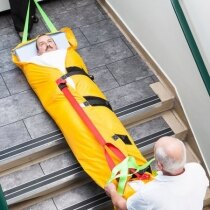 The length adjustable strap helps to stop the patient from slipping inside the mat when going down stairs