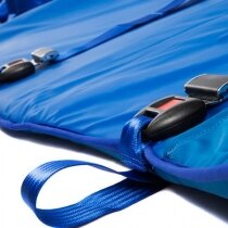 The Spectrum Healthcare Ski Sled uses straps with seat belt style buckles to secure the patient