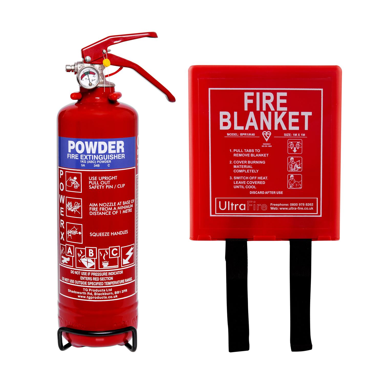 1kg Powder Fire Extinguisher & Fire Blanket Special Offer