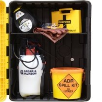Spill Kit Equipment in Yellow Cabinet on Yellow Stand