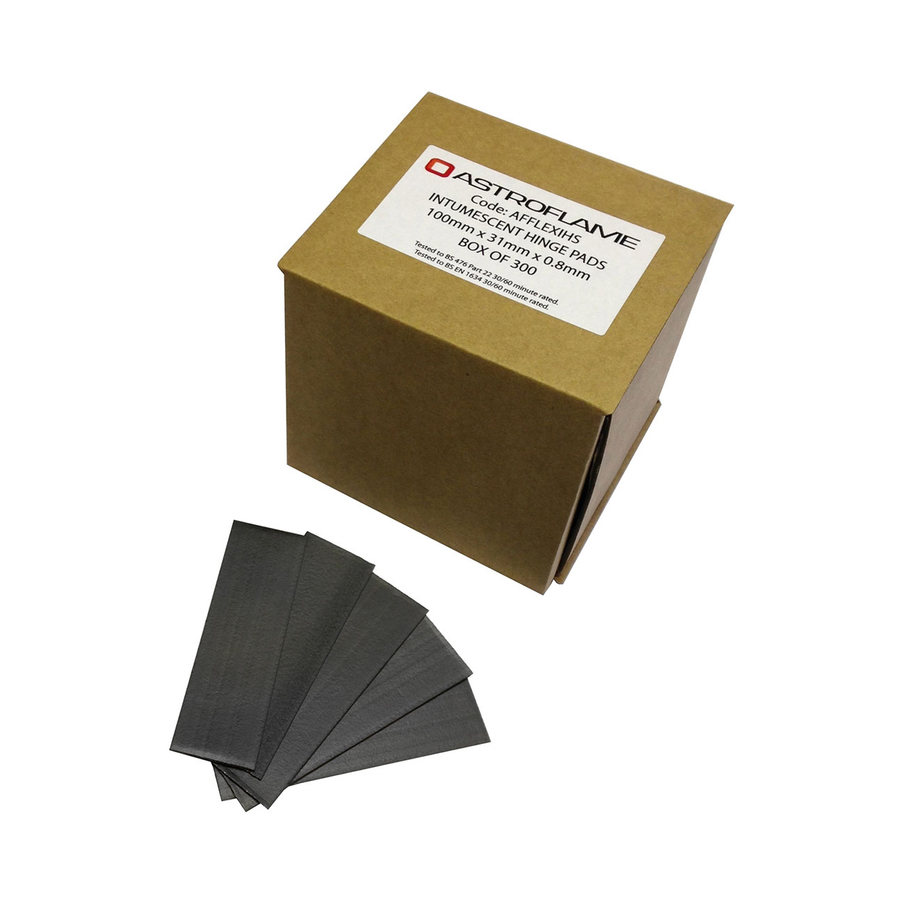 Box of 300 intumescent hinge pads with squared corners, with pads on a sample hinge (not included)