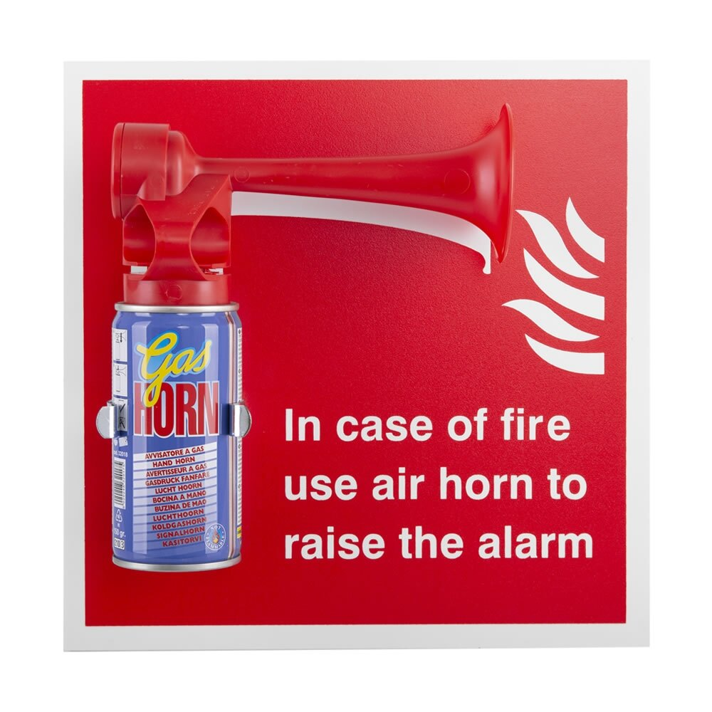Emergency air horn with sign and bracket