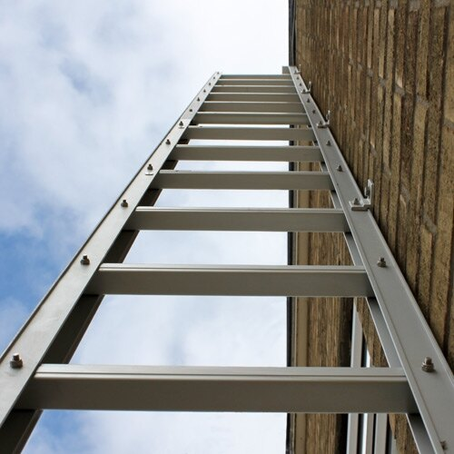 Looking up an opend Saffold fire escape ladder