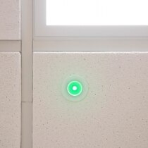 Green LED indicator shows status of mains power supply
