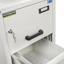 Each drawer features an easy to use rubber handle and label holder
