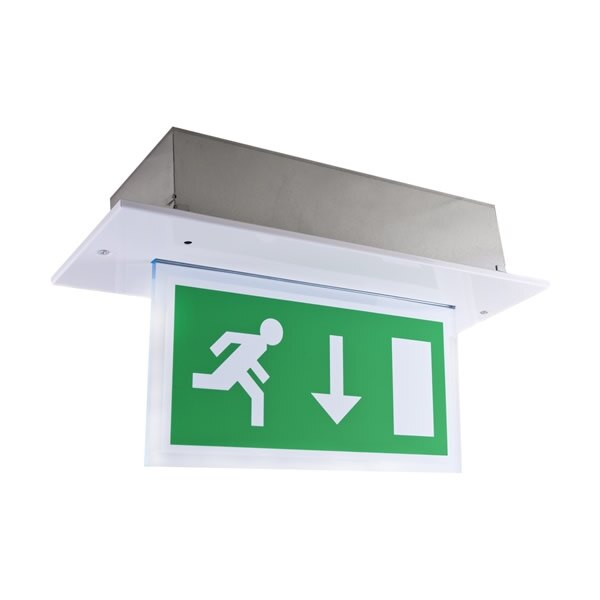Single-Sided Recessed LED Fire Exit Sign - Calabor EX
