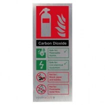Stainless Steel CO2 Fire Extinguisher ID Sign